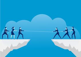 Uomini d'affari tirando la corda sopra il precipizio. Rivalità commerciale e concorrenza su sfondo blu.