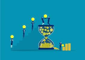 lavoro di squadra di affari che mette la lampadina nella clessidra per fare profitto vettore