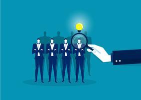 Scegliere la persona giusta. Concetto di lavoro, risorse umane su sfondo blu.