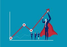 uomo d'affari eroe, cercando di piegare una freccia statistica rossa verso l'alto su sfondo blu vettore