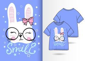 Coniglietto carino disegnato a mano con design t-shirt vettore