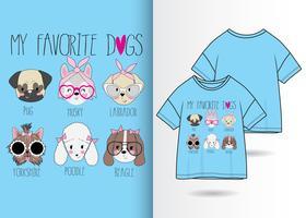 Disegno di maglietta disegnata a mano dei miei cani preferiti