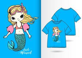 Design t-shirt disegnata a mano da sirena da nuoto vettore