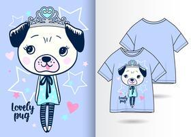 Design carino T-shirt disegnata a mano Pug