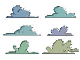 insieme disegnato a mano sveglio di clipart della nuvola vettore