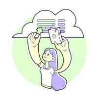 Trasferimento di dati della ragazza sull'illustrazione online di stoccaggio della nuvola