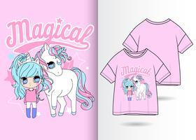 Maglietta disegnata a mano unicorno magico vettore