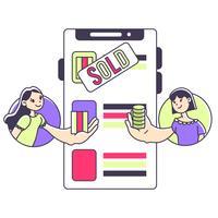 Ui design shopping online e trading illustrazione carino