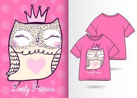 Fantastica maglietta disegnata a mano Owl Princess vettore