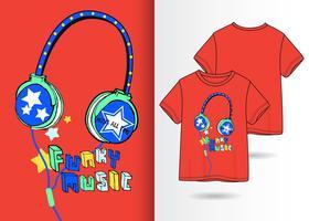 Design di maglietta disegnata a mano di cuffie funky musica