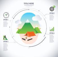 Diagramma di infografica viaggi e campeggio vettore