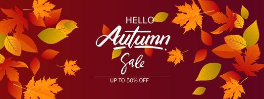 Fondo dell'insegna di vendita di autunno con le foglie di caduta