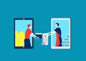 Ordinazione dal commerciante su richiesta al telefono. Tecnologia e-commerce con smart phone.