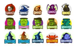 Fantasmi dell'orrore impostati per Halloween ed eSports vettore