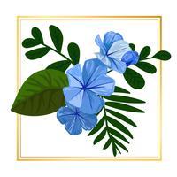 Elementi floreali blu dell'illustrazione della natura della foglia di vettore del fiore