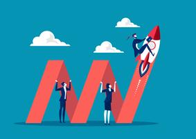 uomini d'affari in possesso di freccia del grafico per la crescita del business