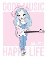 Ragazza carina disegnata a mano, suonare la chitarra vettore