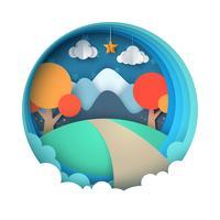 Cartone animato paesaggio di carta. Montagna, albero, nuvola, stella. vettore