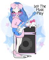 Ragazza sveglia disegnata a mano che gioca chitarra elettrica con il gatto vettore