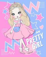 Ragazza carina disegnata a mano che indossa abito rosa e corona con sfondo doodle