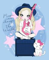 Ragazza sveglia disegnata a mano che si siede sull'altoparlante che gioca chitarra elettrica con il gatto vettore