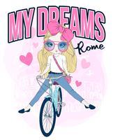 Ragazza carina disegnata a mano in sella a una bicicletta a Roma vettore