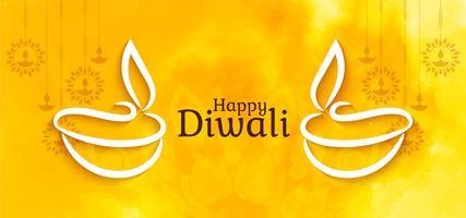 Felice Diwali elegante design luminoso vettore