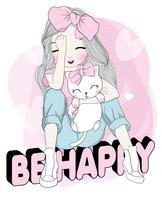Disegnata a mano ragazza carina con gatto seduto su BE HAPPY text