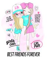 Migliori amiche disegnate a mano ragazza carina con scarabocchi e tipografia vettore