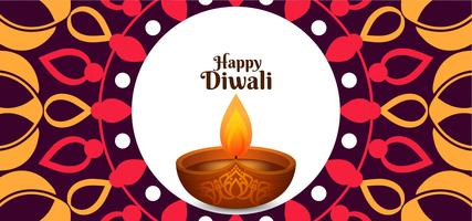 Disegno etnico di Diwali felice di vettore