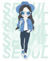 Ragazza carina disegnata a mano che indossa blu con tipografia SEOUL vettore