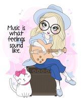 Ragazza sveglia disegnata a mano che si siede sull'altoparlante che gioca chitarra con il gatto