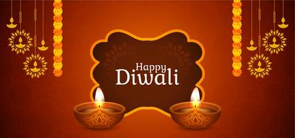 Design elegante marrone Diwali felice vettore