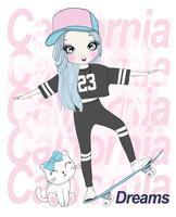 Ragazza carina disegnata a mano skateboard con gatto e tipografia California Dreams vettore