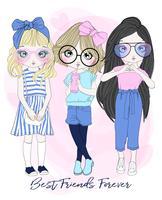 Disegnato a mano carino gruppo di 3 migliori amiche ragazza in diverse pose con tipografia vettore