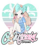 Ragazza carina disegnata a mano che si siede sulla tipografia di sogni di California