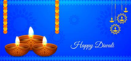 Colore blu Happy Diwali design vettore