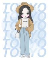 Ragazza carina disegnata a mano che indossa pantaloni larghi con tipografia Tokyo vettore