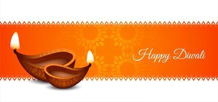 Felice poster classico Diwali con design arancione vettore