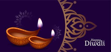 Design decorativo viola Diwali felice vettore
