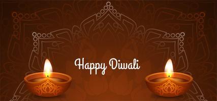 Felice disegno floreale marrone Diwali vettore