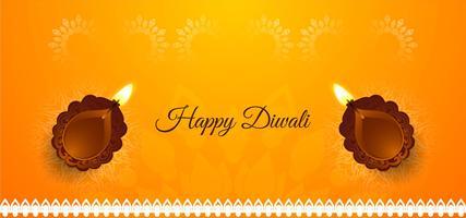 Felice Diwali banner luminoso con diya vettore