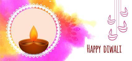 Felice disegno del tratto di pennello colorato Diwali vettore