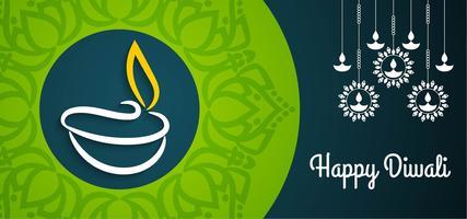 Bellissimo design Diwali verde e blu felice vettore