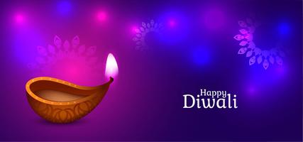 Felice disegno decorativo viola e blu lucido Diwali vettore