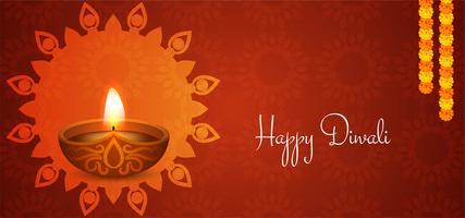 design Happy Diwali rosso vettore