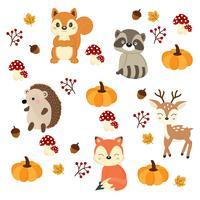 Simpatici animali del bosco con elementi autunnali vettore