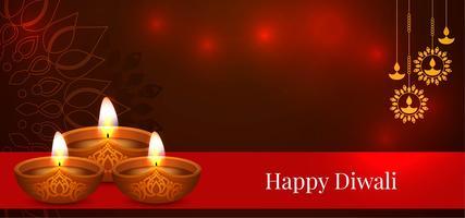 Design Happy Diwali rosso lucido vettore