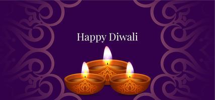 Bandiera viola decorativa di Diwali felice vettore