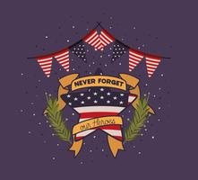 corona e bandiera degli Stati Uniti dell'emblema del Giorno dei Caduti